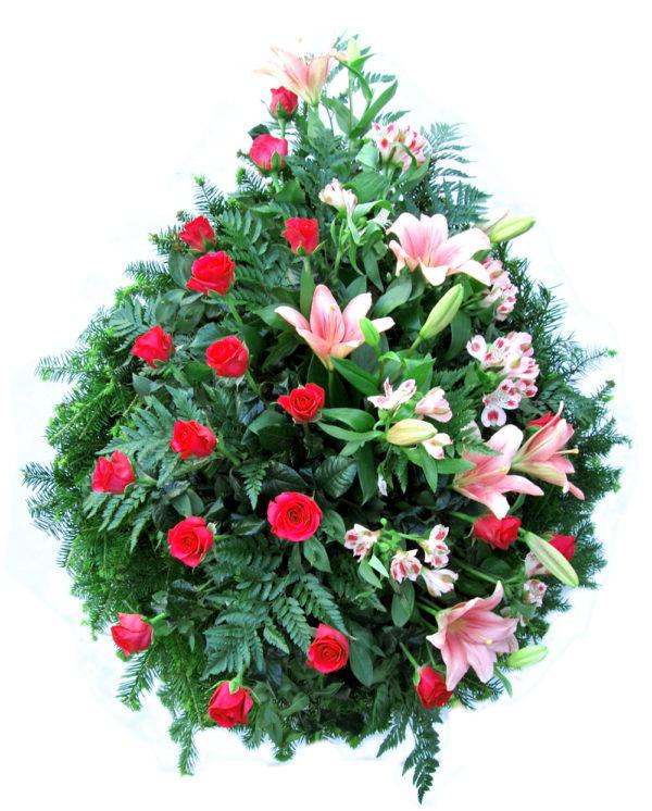 S venac - ciklama ruže,roze ljiljan, roze alstromerija