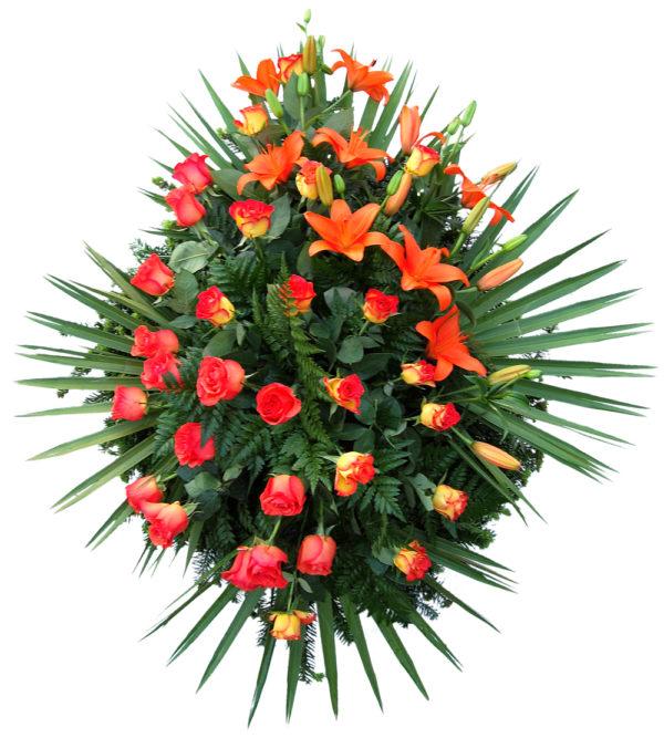 S venac narandžaste ruže, narandžasti ljiljan