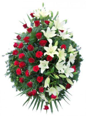 S venac crvene ruže,beli ljiljan