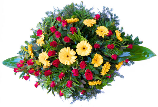 S venac žuti gerberi crvena ruža