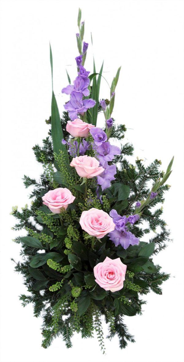 S suza ljubičaste gladiole, roze gerberi