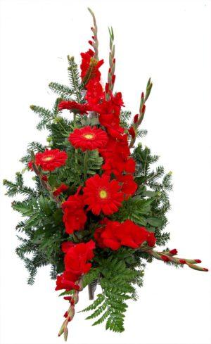 S suza crveni gerberi, crvene gladiole