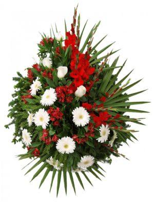 S venac beli gerber, bela ruža, alstromerija, crvena gladiola